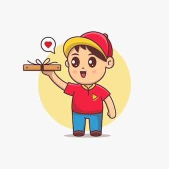 Netter pizzabote halten pizzakastenkarikatur-vektor-illustration. kawaii zeichentrickfigur mit roter uniform