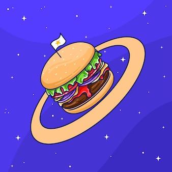 Netter planet burger-cartoon