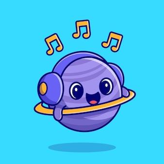 Netter planet, der musik mit kopfhörer-cartoon-symbol-illustration hört.