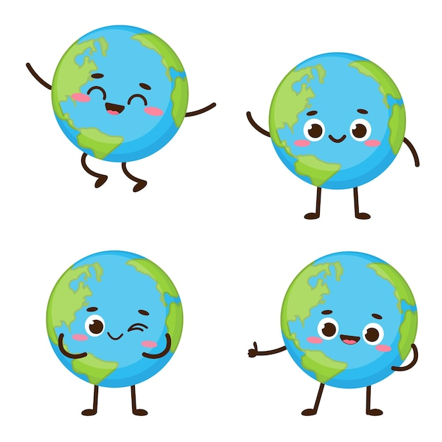 Netter planet erde charakter. cartoon planet emoji-sammlung. earth day kartenvektorillustration