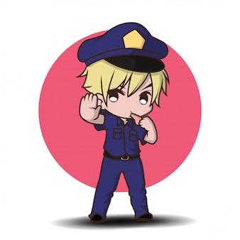 Netter polizist, der in der uniform steht glücklich arbeitet