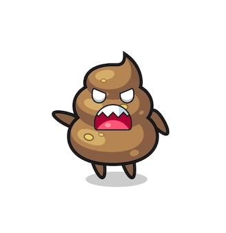 Netter poop-cartoon in einer sehr wütenden pose, süßes stildesign für t-shirt, aufkleber, logo-element