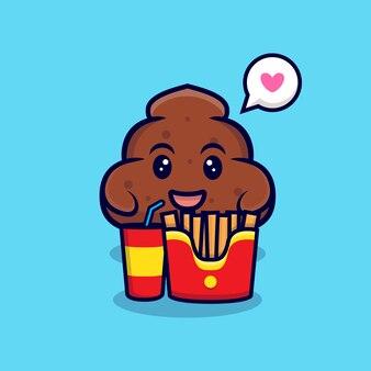 Netter poop liebt fast-food-cartoon