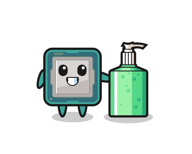 Netter prozessor-cartoon mit händedesinfektionsmittel, süßes design für t-shirt, aufkleber, logo-element
