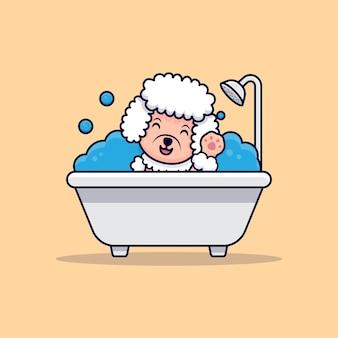 Netter pudel-hund, der pfoten in der badewanne-karikatur-symbol-illustration winkt