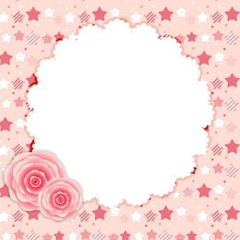 Netter rahmen mit rosen-blumen-vektor-illustration.