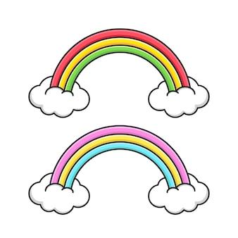 Netter regenbogen mit weißen wolken lokalisiert auf weiß