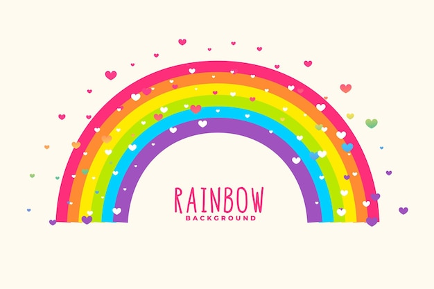Netter regenbogenhintergrund mit herzhintergrund
