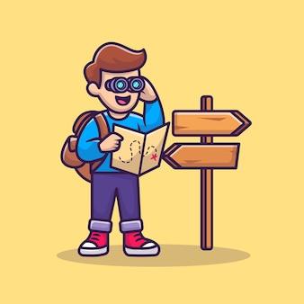 Netter reisender junge mit binokularer karikatur-vektor-symbol-illustration. people icon concept isolierter premium-vektor. flacher cartoon-stil