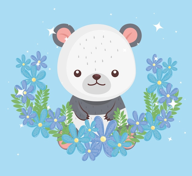 Netter reizender, bärenpanda mit blumenillustrationsentwurf