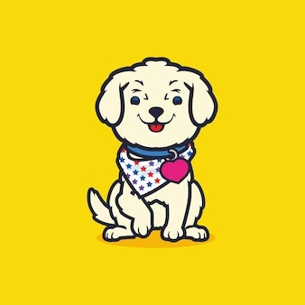 Netter reizender kleiner hund, der schalkarikaturlogo-maskottchenvektor trägt