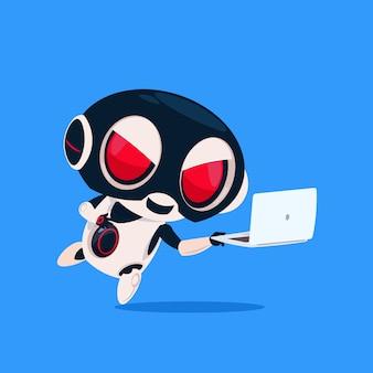 Netter roboter-abnutzungs-hacker-masken-gebrauch-laptop lokalisierte ikone auf blauem hintergrund-moderner technologie-künstlicher intelligenz
