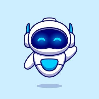 Netter roboter, der hand cartoon illustration winkt.