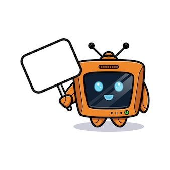 Netter roboter, der leere texttafel, fernsehcharakterversion hält