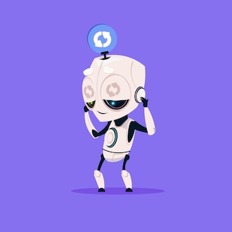 Netter roboter, der software lokalisierte ikone auf blauer hintergrund-moderner technologie-künstlicher intelligenz aktualisiert