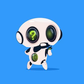 Netter roboter mit fragezeichen lokalisierte ikone auf blauem hintergrund moderne technologie-künstliche intelligenz