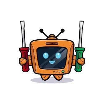 Netter roboter mit schraubendreher, fernsehcharakterversion