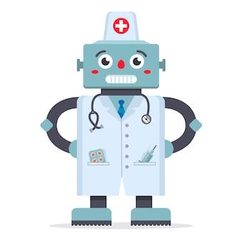 Netter roboterdoktor in einem weißen mantel. ein spiel der medizin. technologien der zukunft. krankenhausbehandlung. charakter