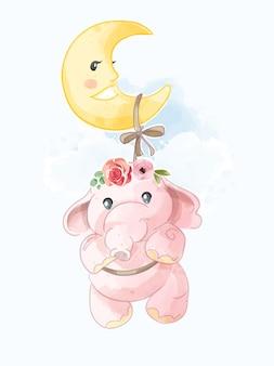 Netter rosa elefant, der auf der mondillustration hängt