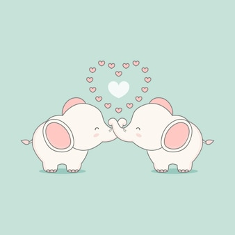 Netter rosa elefant in der liebe mit herzen. valentinstagkarte.