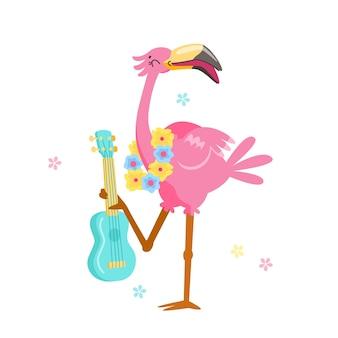 Netter rosa flamingo im blumenkranzspiel