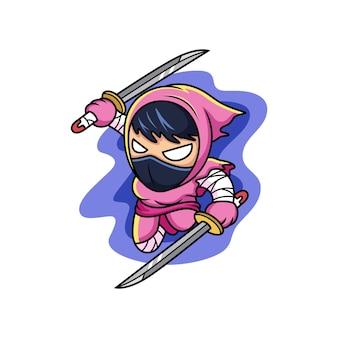 Netter rosa ninja, der schwert hält. cartoon-vektor-illustration isoliert auf premium-vektor