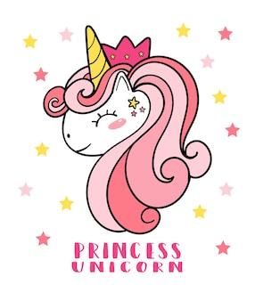 Netter rosa pony-einhorngesichtskopf mit krone, prinzessin unicorn, gekritzelkarikaturillustration