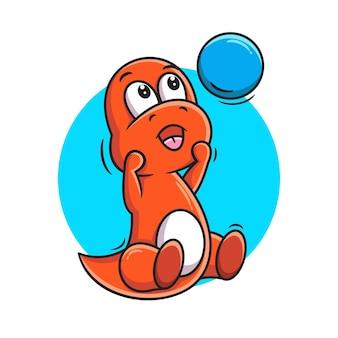 Netter roter dino-cartoon, der ballvektorillustration spielt