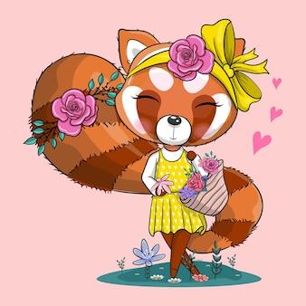 Netter roter panda der karikatur mit bandana und blumenvektorillustration