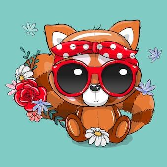 Netter roter panda der karikatur mit bandana- und brillenvektorillustration