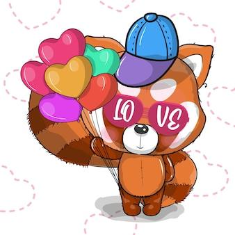 Netter roter panda der karikatur mit herzvektorillustration