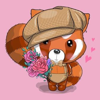 Netter roter panda der karikatur mit kappe und blumenvektorillustration