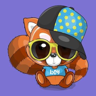Netter roter panda der karikatur mit kappe und brillenvektorillustration