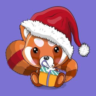 Netter roter panda der karikatur mit weihnachtshut-vektorillustration