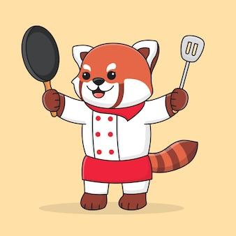 Netter roter panda des küchenchefs, der spatel und bratpfanne hält