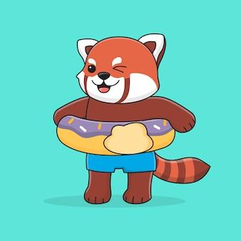 Netter roter panda mit schwimmringkrapfen