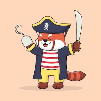 Netter roter panda-pirat