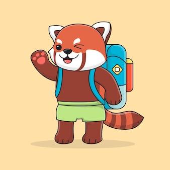 Netter roter panda-rucksacktourist
