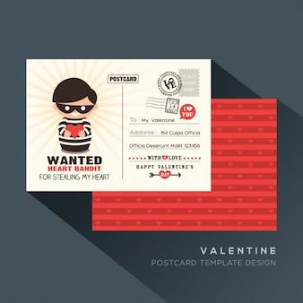 Netter roter valentine heart bandit postkarte card design-vorlage