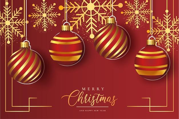 Netter roter weihnachtshintergrund mit realistischer weihnachtskugelschablone
