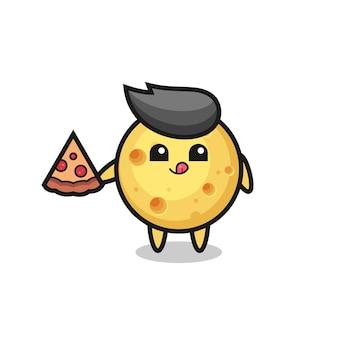 Netter runder käse-cartoon, der pizza isst, süßes stildesign für t-shirt, aufkleber, logo-element