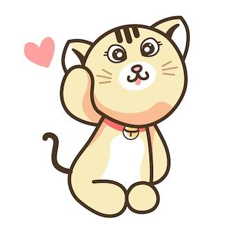Netter sahne-ingwer-katzen-karikatur mit süßem glücklichem gesicht, das kätzchen-puppe sitzt