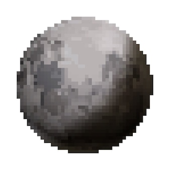 Netter satellit des hellen glänzenden mondes im pixelkunststil lokalisiert auf weiß