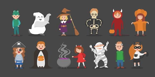 Netter satz halloween-kostüme für kinder