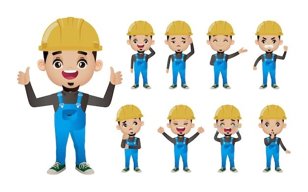 Netter satz satz des arbeiters mit verschiedenen emotionen