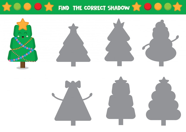 Netter satz weihnachtsbäume. pädagogisches arbeitsblatt für kinder. finde den richtigen schatten