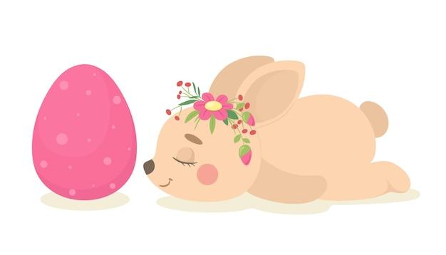Netter schlafender osterhase neben einem osterei. illustration.