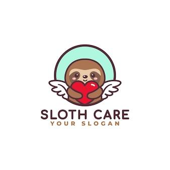 Netter schlitz, der herz-pflege-logo-maskottchen-baby-shop umarmt