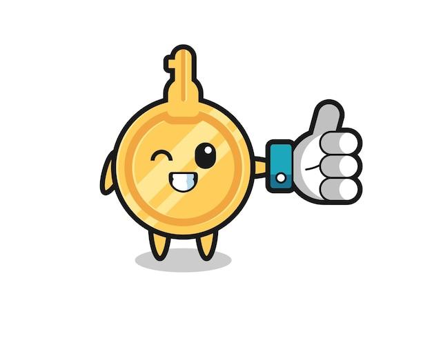 Netter schlüssel mit social-media-daumen hoch symbol, süßes design