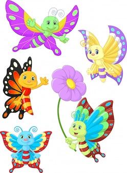 Netter Schmetterlingskarikatur-Sammlungssatz